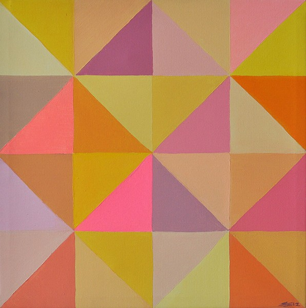 "Untitled from the serie ""Slices"", acrylic on canvas, 42 cm x 42 cm, 2012"