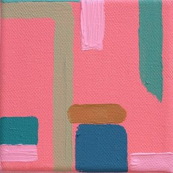With Pink, Acrylic on canvas, 10 cm x 10 cm, 2018. SOLD